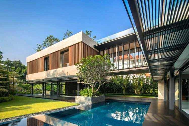 desain rumah tingkat dengan kolam renang