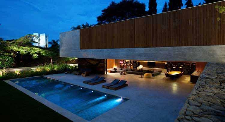 desain rumah kolam renang kecil